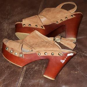 Tan & Brown Suede - •JustFab• | Wooden Heels